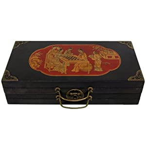 Oriental Furniture Black Lacquer Chess Set Box