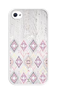 iZERCASE Aztec on Wood Grey rubber iphone 4 case - Fits iphone 4 & iphone 4s
