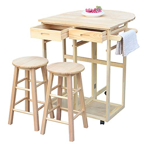 Dining Table Set 3 PCS Pub Kitchen Folding Rolling Drop Leaf Island Trolley Kitchen Cart 1 Table and 2 Chairs Stools 2 Towel Hander Home Restaurant Breakfast Bistro Dining Room Home Kitchen Furniture