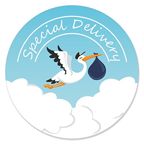 Big Dot of Happiness Boy Special Delivery - Blue It's A Boy Stork Baby Shower Circle Sticker Labels - 24 ()