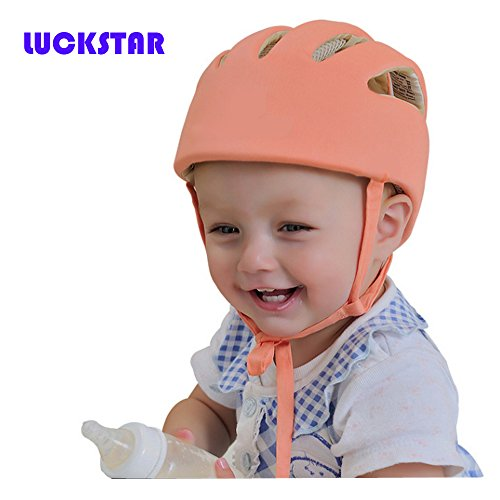 LUCKSTAR(TM) Adjustable Baby Toddler Safety Helmet Headguard Children Hats Infant Baby Cap Harnesses Gift Bumper Bonnet Toddler Head Cushion (Orange)
