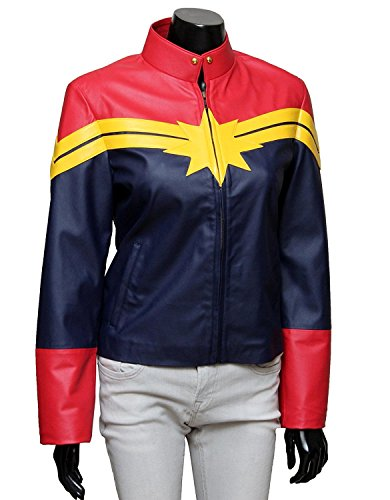 Yellow Jacket Marvel Costume (Captain Carol Danvers Marvel Leather Women Outwear Costume Jacket)