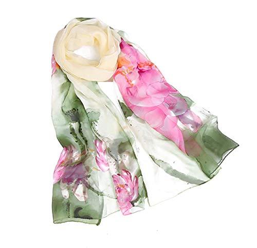 Print Silk Feeling Scarf Fashion Scarves Lightweight Sunscreen Shawls for Women (Ink Lotus&Green)