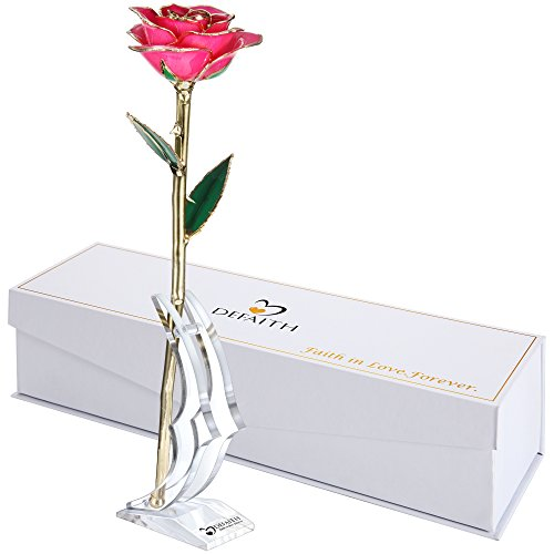 Pink Gold Rose, DEFAITH 24K Gold Trimmed Long Stem Real Rose with Moon-shape Rose Stand. Last a Lifetime. Best Anniversary Gift. (Valentine Day Special Gift)