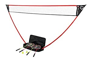 Zume Games Portable Badminton Set with Freestanding Base Sets Up on Any Surface in Seconds – No Tools or Stakes Required