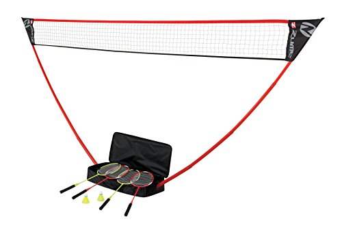 Zume Games Portable Badminton Set with Freestanding Base - Sets Up on Any Surface in Seconds - No Tools or Stakes Required (Best Portable Badminton Set)