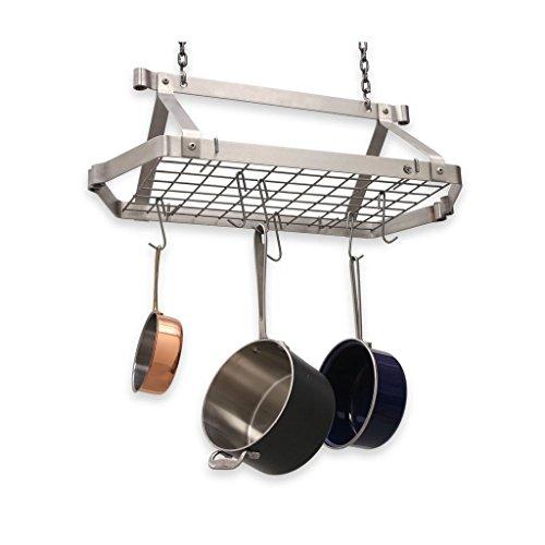 Enclume Rectangle Pot Rack - Enclume Decor Retro Rectangle Ceiling Pot Rack, Stainless Steel
