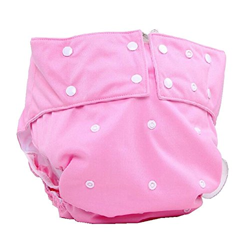 LukLoy Women's Adults Cloth Diapers for Incontinence Care Protective Underwear -Dual Opening Pocket Washable Adjustable Reusable Leakfree (Pink)