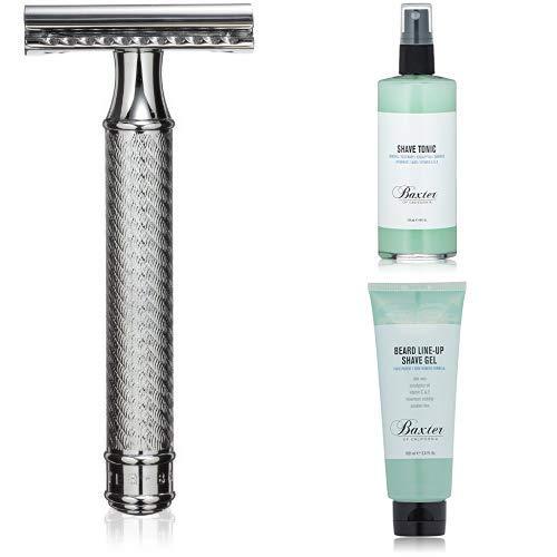 Baxter of California Safety Razor + Shave Tonic + Beard Line-Up Shave Gel by Baxter of California