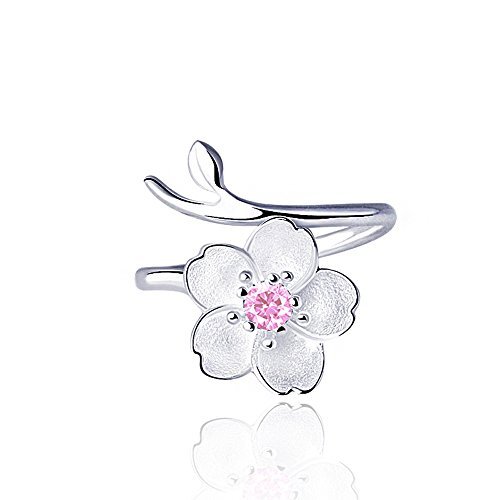 Smilers Jewelry S925 Sterling Silver Branch Cherry Blossom Pendant Necklace,Stud Earrings,Ring,Simple Jewelry Gift (Ring)