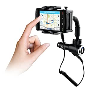 Naztech Universal Vehicle Mount and Charger with Micro USB, Mini USB, iPhone Tips Retail Packaging  (Black)