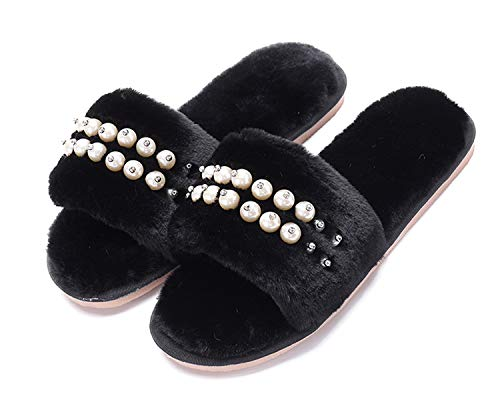 Women's Fuzzy Fluffy Furry Fur Slippers Flip Flop Open Toe Cozy House Memory Foam Sandals Slides Soft Flat Comfy Anti-Slip Spa Indoor Outdoor Slip on (03/Black, 9-10 N -