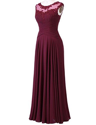 Lange Ballkleider Brautjungfernkleider Damen Elfenbein Chiffon Dresstells Abendkleider qAOB4wR