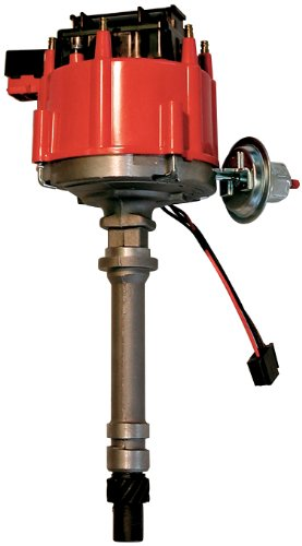 Proform 67081 Vacuum Advance HEI Distributor with Steel Gear and Red Cap for Chevy Inline - Distributor Cap Incl