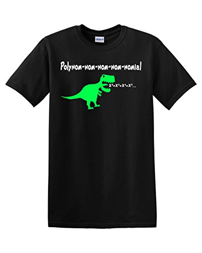 Polynom-nom-nom-nom-Nomial Math Exponents Polynomial Dinosaur Jurassic Mathematics Teacher T-Rex Men's Adult Graphic Tee T-Shirt Apparel Funny Humor Pun (XX-Large) -