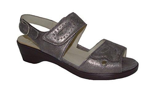 Dames waldläufer sandale Hona 445005-175-103 brille Peltro or