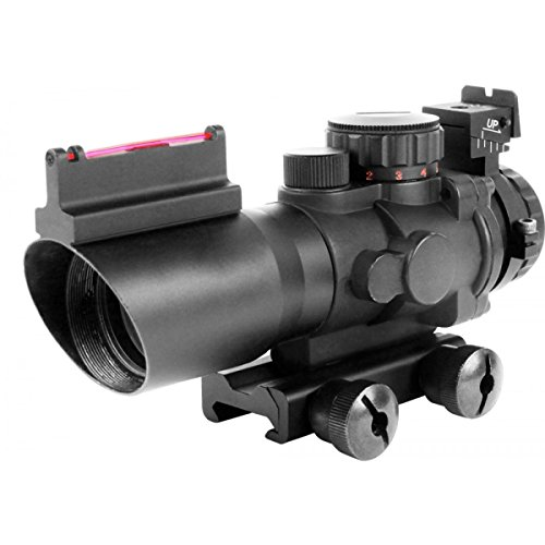 AIM Sports Prismatic Series, 4x32mm, Rapid Ranging Reticle, Fiber Optic Front Sight, Rifle Scope