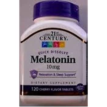 21st Century Melatonin Quick Dissolve Tablets, Cherry, 10 mg, 120 Count (pack of 4)