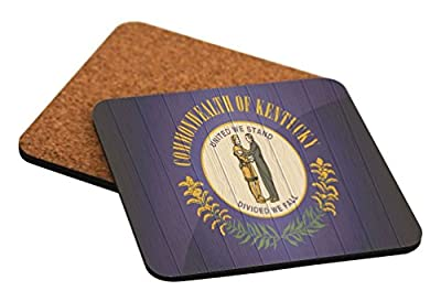 """Rikki Knight """"Kentucky Flag on Distressed Wood Design"""" Square Beer Coasters"""