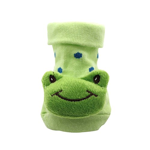 HuntGold Cute Baby Kid Toddler Newborn 3D Cartoon Short Sock Slipper Shoe Children Bootie(frog)