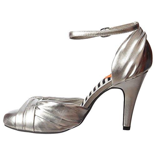 Olivia De Rocket Dog Las Mujeres Mediados Del Talón Del Tobillo Correa Zapatos - Negro, Coral, Plata Argento
