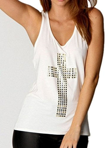 TM vintage hip hop punk Cross Rivet women girls short Sleeve tee t shirt top