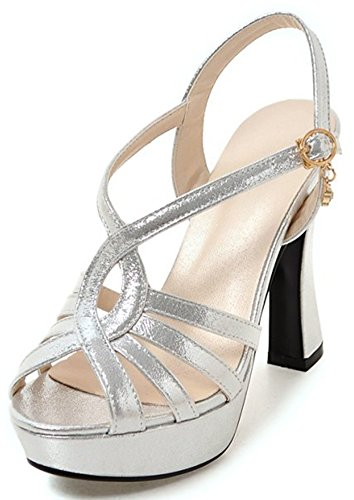 (IDIFU Women's Comfy Platform Chunky High Heel Peep Toe Ankle Strap Low Top Sandals with Pendants (Silver, 7 B(M) US))