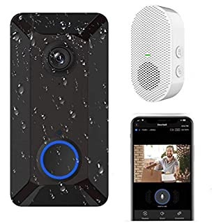 Wireless Video Doorbell Camera, Clear Picture and Video, IP55 Waterproof, Lifetime Free Cloud Storage, Batteries, Push Notification, Two-Way Talk, Wide Angle, Night Vision (Doorbell with Chime)