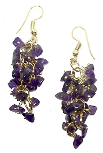 Genuine Semi Precious Stone Grape Cluster Style Dangle Earrings (9 - amethyst chips with gold)