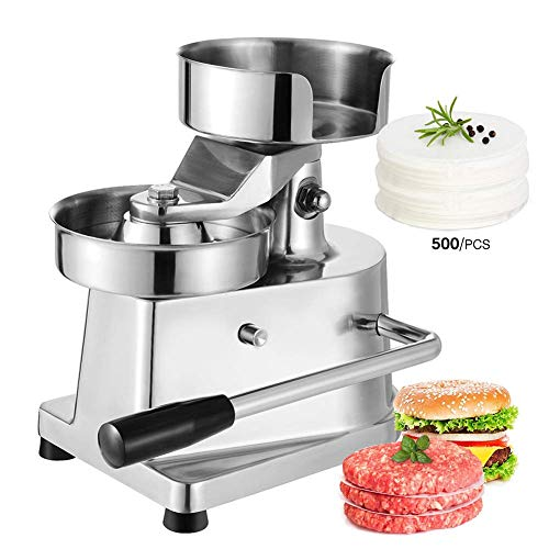 5 Burger - TRUSTME Commercial Hamburger Press Patty Maker Home Large Manual Burger Forming Machine Stainless Steel Grill Burger Press Tool with 500 Greaseproof Papers, 5 inch Burger 130mm