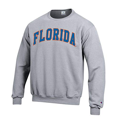 (Champion NCAA Men's ECO Power Blend Crew Sweatshirt with Tackle Twill Embroidered Lettering-Florida Gators-Heather)