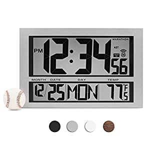 MARATHON CL030025 Commercial Grade Jumbo Atomic Wall Clock with 6 Time Zones, Indoor Temperature & Date
