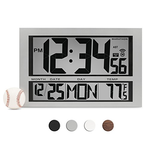MARATHON CL030025 Commercial Grade Jumbo Atomic Wall Clock with 6 Time Zones, Indoor Temperature & Date (Wall Clock Digital Online)