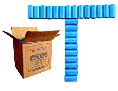 Tidy Turd Poop Bags - 480 Large Unscented Disposable Poo Pouches - For All Waste - Baby Diapers Sacks, Dog, Cat Litter, Camping, & Dispensers - Fits Over Pet Pooper Scoopers! Bulk Set of Refill Rolls