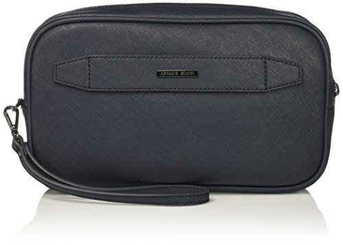 Armani Jeans Men's Safiano Embossed Pu Toiletries Bag, Blue by ARMANI JEANS