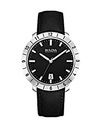 Bulova Accutron II Men's UHF Watch with Black Dial Analogue Display and Black Leather Strap - 96B205