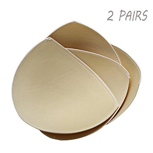 FUNCYboo 2 Pairs Sports Bra Pad and Bikini Top Sponge Pad Bra inserts (A/B CUP, Beige) Bra Size Bikini