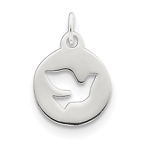 Sterling Silver Dove Charm - Lex & Lu Sterling Silver Circle w/Dove Charm-Prime