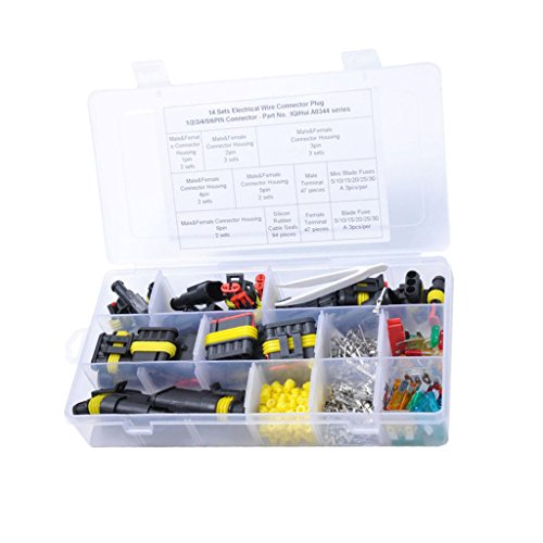 MagiDeal 240 Pieces Waterproof Electrical Wire HID Connector Plug Terminal: