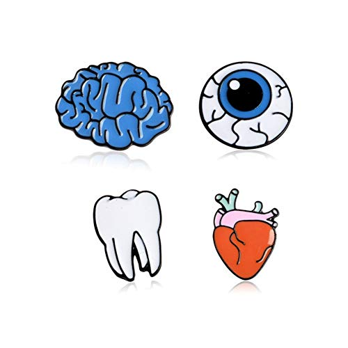 AILUOR Cute Enamel Lapel Pins Sets, Cartoon Enamel Human Organs Medical Brooches Pin Badges for Halloween Fun Clothing Bags Backpacks Jackets Hat DIY (4Pcs/Set) -