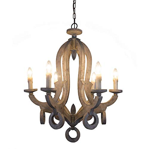 6-Light Cottage Rustic Wooden Chandelier Farmhouse Shabby Chic Wood Chandelier with Candle Holder for Foyer, Hall, Entry, Bedroom, Dining Room, Living Room