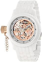 Invicta Women's 1898 Russian Diver Mechanical Rose Gold Tone Skeleton Dial White Ceramic Watch