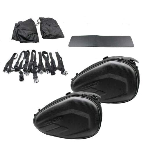 2pcs Motorcycle Saddle Bags Rear Seat Left & Right Waterproof Storage Bags, Travel Luggage w/Belts & Pads(58L in Total)