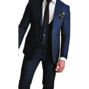Newdeve 1 Button Navy Blue 3 Pieces Men Suits Wedding Party Tuxedo