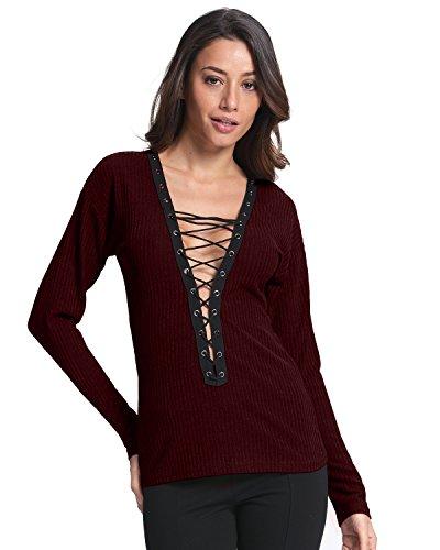 V Maglione Autunno Donna Styledome Lunga Bordeaux Moda Casual Maglietta Maglieria Shirt Top Elegante Collo Manica wFXW5Tq5