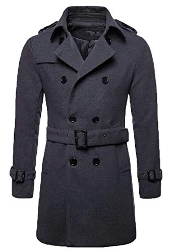 Double Winter Solid Men's Pea TTYLLMAO 2 Wool Fall Coats Breasted Trench Blend wZRC1Fq