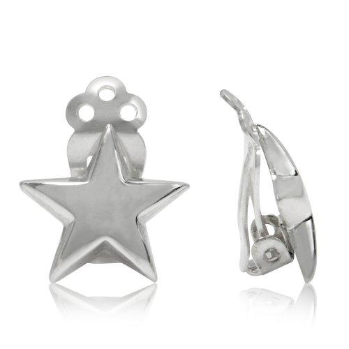 925 Sterling Silver Star Shape Clip-on Earrings