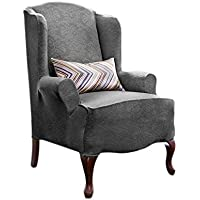 LEIGE Stretch Shorty Studio Sized Wing Chair Slipcover...