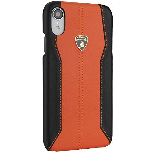 ❥ Lamborghini Huracan-D1 Leather Back Cover Case for iPhone XR (Orange) orange iphone xr case 6