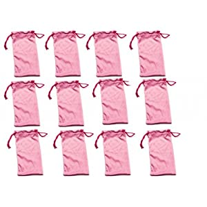 Twelve (12) PINK Microfiber Cleaning and Storage Pouch / Sack / Cases for Sunglasses and Eyeglasses